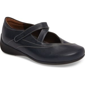 WOLKY Navy Leather Passion Mary Jane Flat